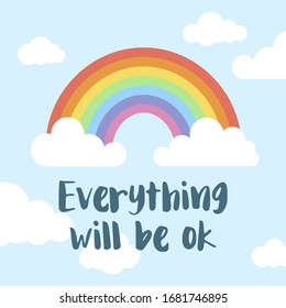 Everything will be ok. Rainbow and clouds background. Positive message to overcome the coronavirus pandemic.