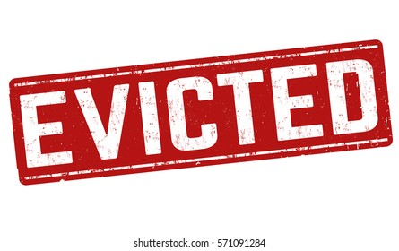 Evicted grunge rubber stamp on white background, vector illustration