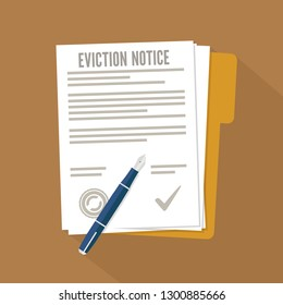 Eviction notice form. Concept flat icon