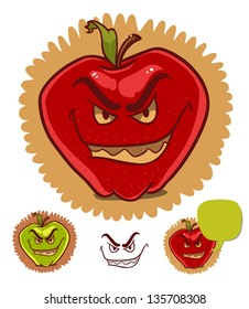 evil apple with scary smile and dialog balloon isolated on white. cartoon illustration