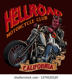 evil biker with chopper motorcycle on the road suitable for motorcycle club t shirt design