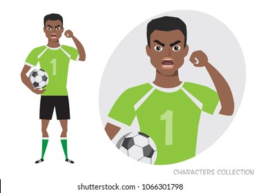 The evil black african american soccer player threatens with his hand. Angry football player. Negative Emotions. Bad Days. Bad Mood Stressful men