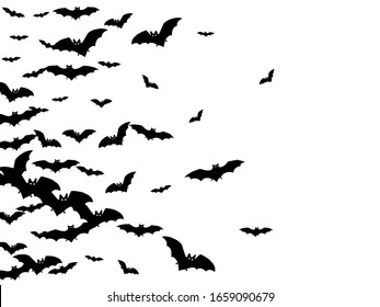 Evil black bats swarm isolated on white vector Halloween background. Flittermouse night creatures illustration. Silhouettes of flying bats vampire Halloween symbols on white.