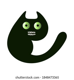 Evil black cat with bulging eyes and grin. Vector isolated illustration on white background
