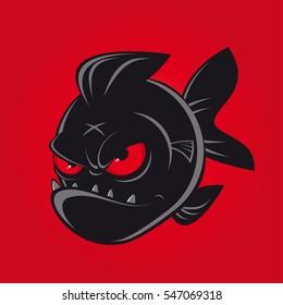 evil black comic piranha