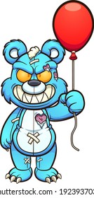 Evil blue teddy bear holding a red balloon. Vector clip art illustration. All on a single layer.