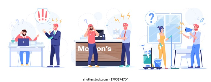 Evil boss chief yelling at confused subordinate set. Aggressive shouting top manager scolding employee, office cleaner, courier. Business conflict, misunderstanding, procrastination, pronunciation