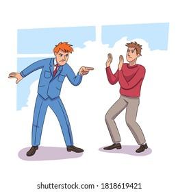 Jefe malvado gritando al trabajador de la oficina. La reprimenda de jefe enfadado alteró el conflicto laboral de los empleados. Expresión furiosa, emoción negativa, agresión. Problema en el trabajo. Rabia en cadena. Diseño de vectores
