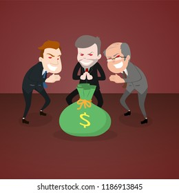 evil businessman and politicians greed for money cartoon character illustration
