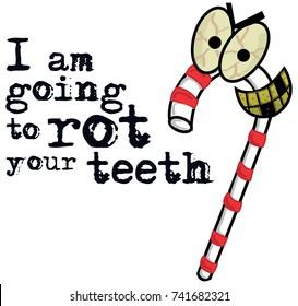 Evil Candy Monster. Warning For Kids! Advert for Dentists. Vector illustration.