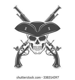 Evil captain skull in cocked hat vector. Jolly Roger logo template. death t-shirt design. Pistol insignia concept