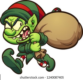 Evil cartoon Christmas elf, stealing presents. Vector clip art illustration with simple gradients. All in a single layer.