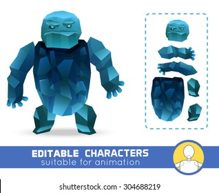 Evil cartoon ice rock monster editable elemental character. Neutral, negative or positive editable character. Suitable for animation, video and games. You can change color, position of body parts