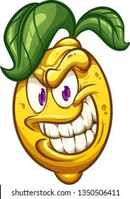 Evil cartoon lemon with big smile clip art. Vector illustration with simple gradients. All in a single layer.