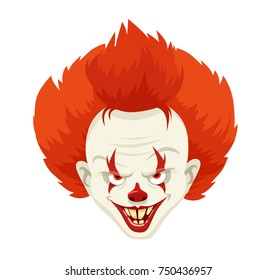 Evil Clown Character With Red Hairs Avatar. Vector Illustration