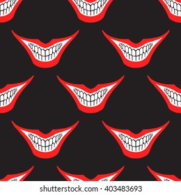 Evil clown or playing card joker smile seamless vector pattern. Creepy, spooky, scary smiles with red painted lips and bared teeth texture. Fool's Day or Halloween funny, irony endless background.