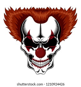 Evil clown skull with red hair.