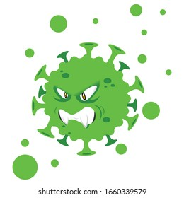 Evil Coronavirus (COVID-19) Cartoon Character of Pathogenic Bacteria. Vector Illustration Isolated On White Background