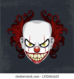 Evil creepy clown face. Angry clown with evil smile on the face.