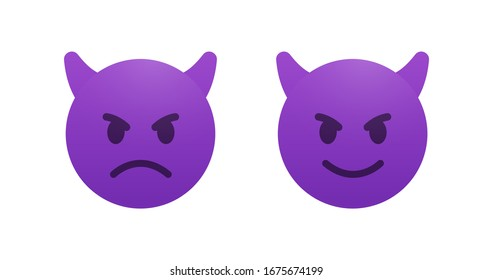 Evil and cunning devil emoji vector icon. Angry emoticon with horns. Smile sticker.