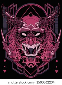 evil cybernetic samurai robot sacred geometry tshirt design