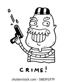 Evil dangerous armed criminal shoots a gun