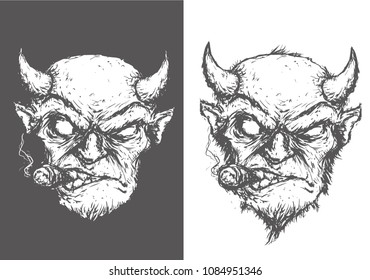 evil devil with cigar smokes with horns and beard vector illustration