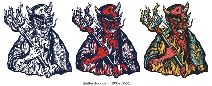 Evil devil. Terrible satan with pitchforks. Symbol of villainy, hell, sins, sinfulness, and depravity. Old school tattoo vector art. Hand drawn cartoon character set. Traditional tattooing style