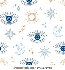 Evil Eye Celestial Seamless Vector Pattern with suns, moons, stars. For textiles, giftware, homeware.