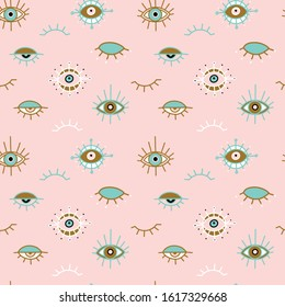 Evil eye pastel vector isolated doodle seamless pattern. Magic, witchcraft, occult symbol, clip art line art collection. Hamsa eye, magical eye, decor element. Pink, green, golden eyes. Fabric textile
