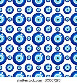 Evil eye seamless pattern. Turkish eye bead background
