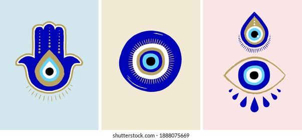 Evil eye or Turkish eye symbols and icons set. Modern amulet design and home decor idea