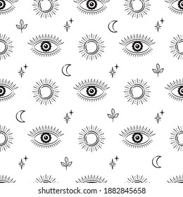 Evil eye vector seamless pattern. Magic, witchcraft, occult symbol, line art collection. Hamsa eye, suns, moons, magical eyes, decor element. Black and white fabric, textile, giftware, wallpaper.