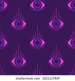 evil eye vector seamless pattern, magic, witchcraft, occult symbol, line art collection, magical eye, decor element for fabric, textile, giftware, wallpaper