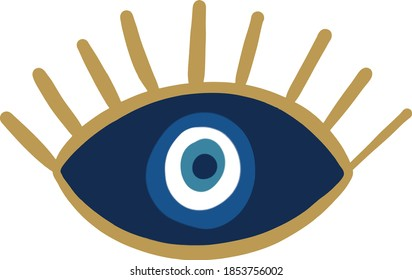 evil eye vector - symbol of protection - blue turkish