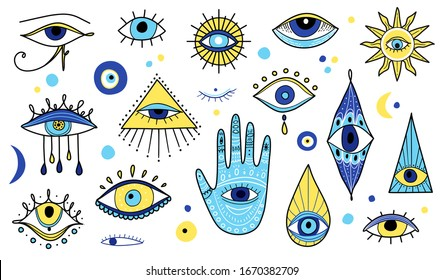 Evil eyes icon set, various talismans in hand drawn style. Evil Eye, Hamsa, Hand of Fatima. Popular amulets illustrations in blue color. Eye of Providence. Sacred geometry, religion, spirituality sign
