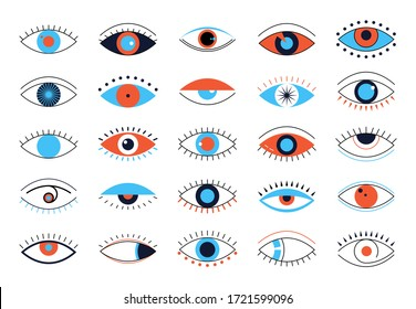 Evil eyes icons. Set of various flat design talismans. Images of open and closed eyes with lashes, sleeping eye shapes with eyelashes. Vector illustration