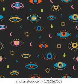 Evil eyes seamless pattern. Colorful eyes with lashes different shapes in flat design for textile, print, apparel. Contemporary trendy vector illustration