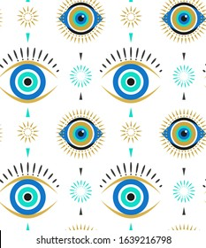 Evil eyes seamless pattern. Contemporary modern, trendy vector illustrations, home decor idea