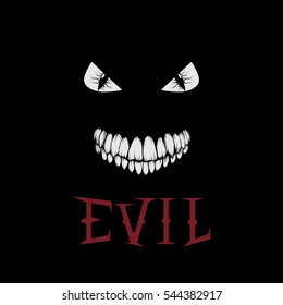 evil eyes and teeth.Symbol of demon.Vector illustration