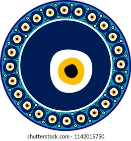 Evil eyes. Vector drawing for ceramic plate. It is mostly prepared with Blue, yellow, black and White colors. It is used as wall decoration, dinner plate, ceramic and tile motif, gift card.