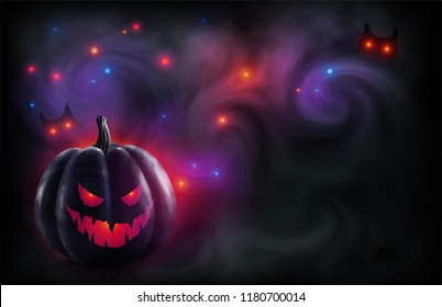 Evil face black pumpkin on mystic red and violet backdrop with magic lights and owl eyes in fog. Vector Halloween poster and flyer background.