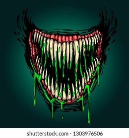 evil fanged jaw with dripping poison illustration