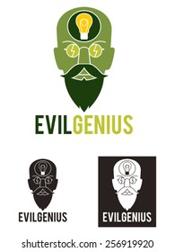 Evil genius vector illustration, usable as a logo template. Represents the face of an evil genius, with his beard, his glasses and his brain thinking with a light bulb.