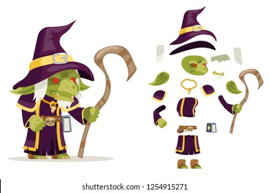 Evil goblin mage sorcerer warlock wiseman minion dungeon monster fantasy medieval action game RPG character layered animation ready character vector illustration