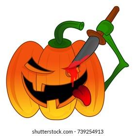 Evil Halloween Pumpkin Carving Monster. Vector illustration.