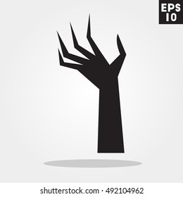 Evil hand halloween icon in trendy flat style isolated on grey background. Id card symbol for your design, logo, UI. Vector illustration, EPS10.