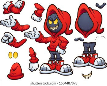 Evil hooded cartoon character clip art. Vector illustration with simple gradients. Some elements on separate layers.