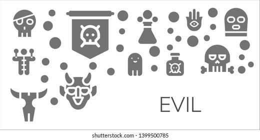 evil icon set. 11 filled evil icons.  Simple modern icons about  - Skull, Jolly roger, Voodoo doll, Ghost, Toxic, Poison, Hannya, Hamsa, Balaclava
