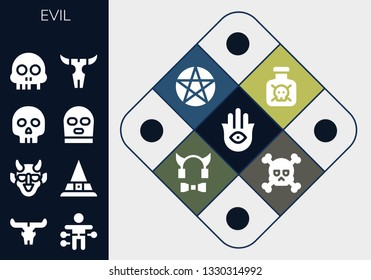 evil icon set. 13 filled evil icons.  Simple modern icons about  - Hamsa, Skull, Voodoo doll, Hannya, Witch, Yorick, Balaclava, Toxic, Pentacle, Devil